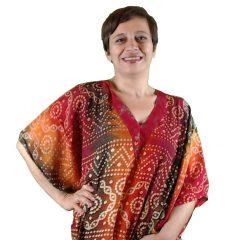 Caftano Donna Rosso Energy In Fresco Cotone