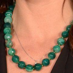 Collana Pietre Naturali A Sfere Sfaccettate Green