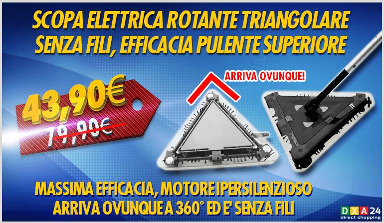 Scopa elettrica rotante triangolare 360 dxa 24 for Scopa senza fili