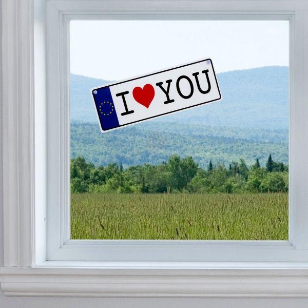 Targa Stile Auto I Love You Con Ventosa